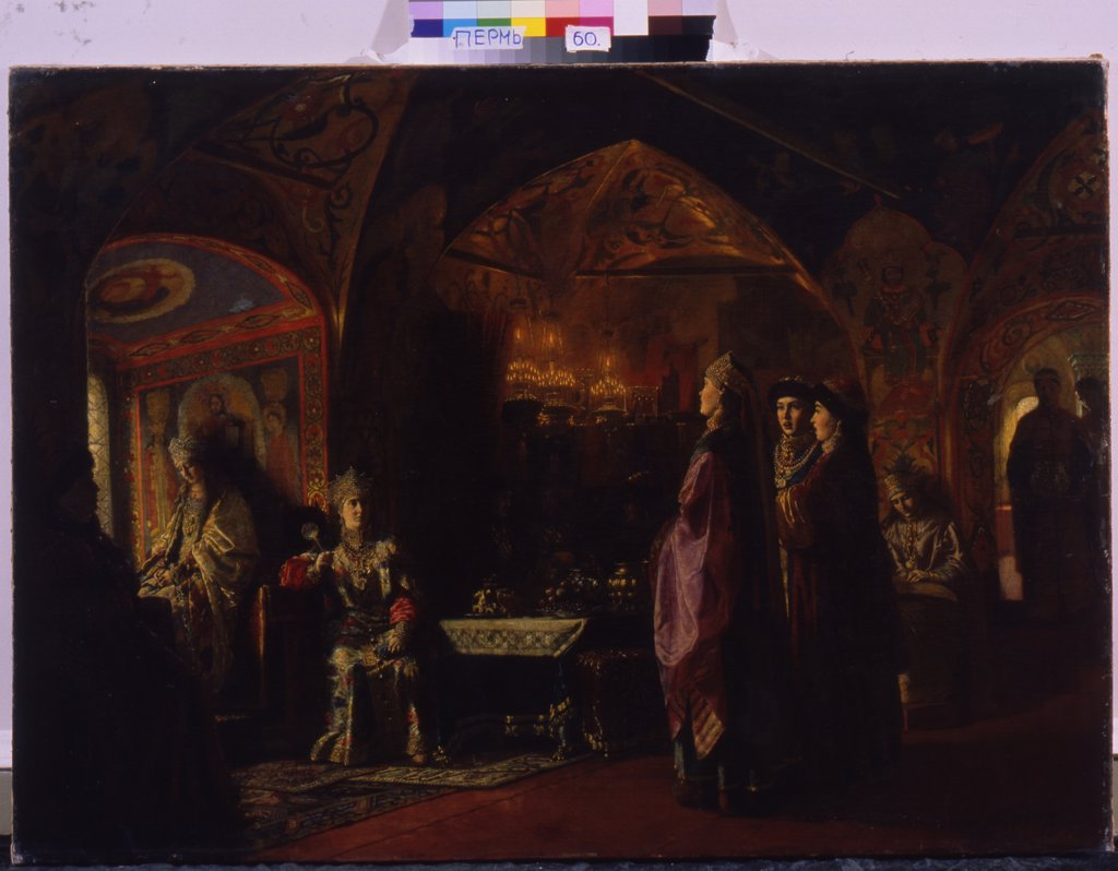 Stock Photo: 4266-8702 Ornate russian chamber with people by Baron Mikhail Petrovich Klodt, Oil on canvas, 1878, 1835-1914, Perm, Regional Art Gallery, 91x126