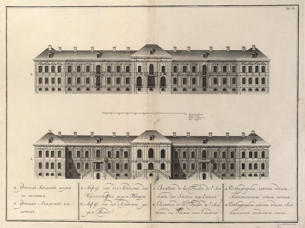 Stock Photo: 4266-8756 Academy of Sciences in Saint Petersburg by Giacomo Antonio Domenico Quarenghi, Etching, 1741, 1744-1817, Russia, St. Petersburg, Museum of Fine Arts Academy