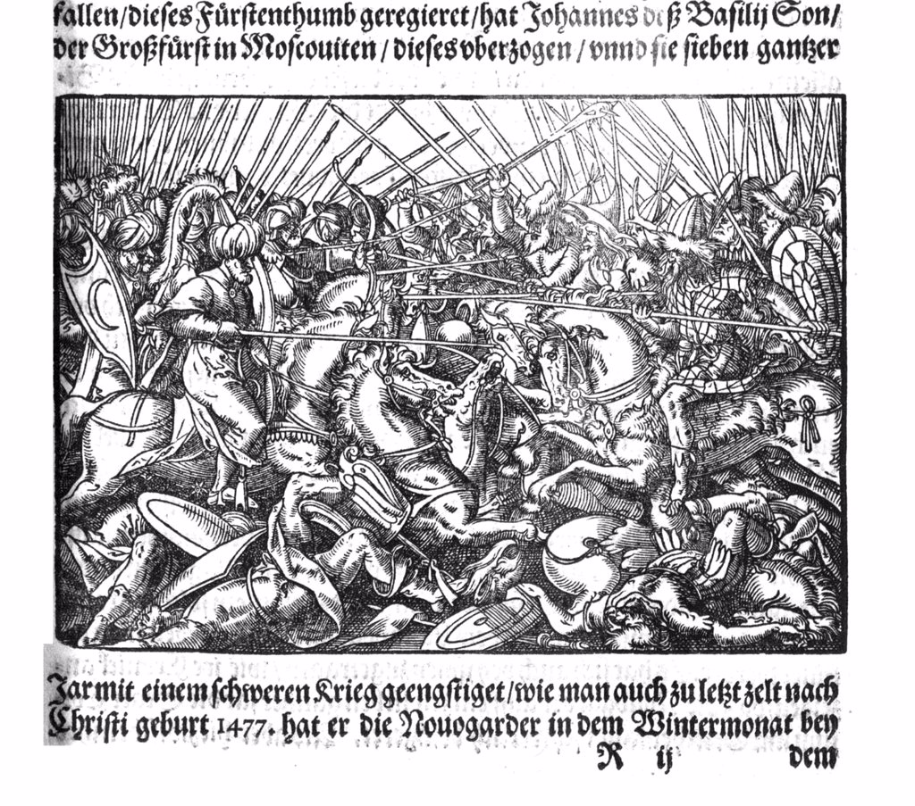 Stock Photo: 4266-8761 Illustration of battle with Ivan IV the Terrible by Anonymous artist, Woodcut, 1579, Russia, Moscow, State History Museum