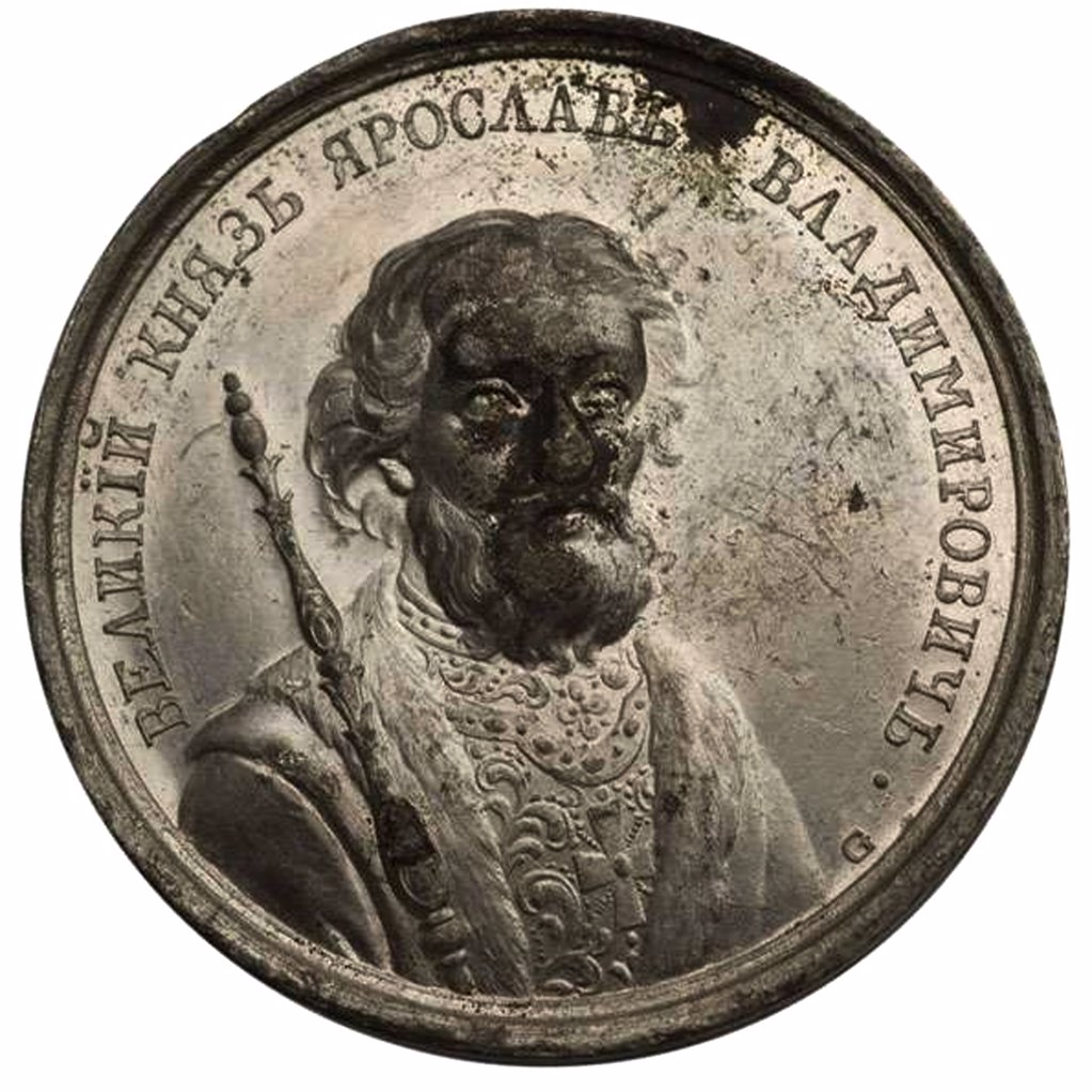 Stock Photo: 4266-8788 Medal with prince Yaroslav by Johann Balthasar Gass, Tin, active 1768-1793, 18th century, Private Collection, D 38