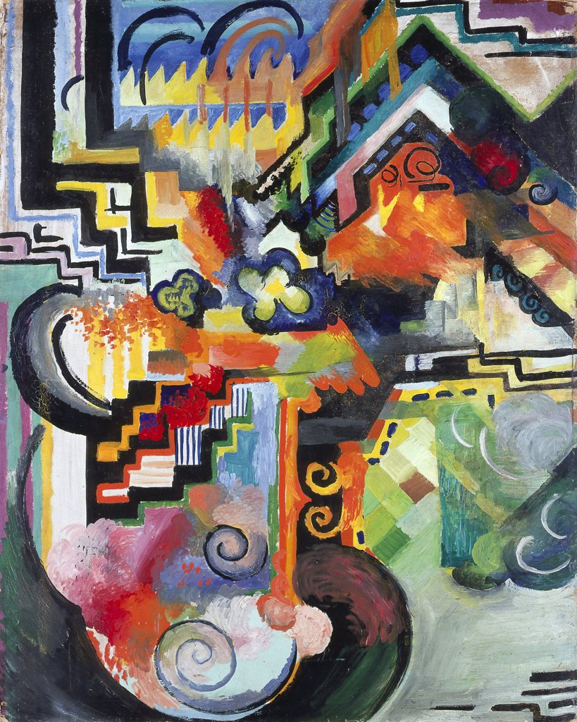 Stock Photo: 4266-8806 Colored Composition by August Macke, Oil on cardboard, 1912, 1887-1914, Wilhelm Hack Museum Ludwigshafen