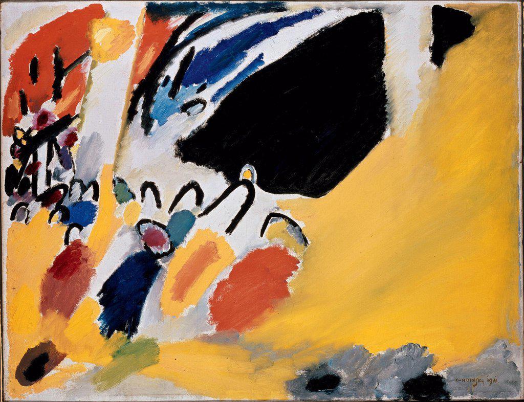 Kandinsky, Wassily Vasilyevich (1866-1944) Stadtische Galerie im Lenbachhaus, Munich 1911 77,5x100 Oil on canvas Expressionism Russia  : Stock Photo