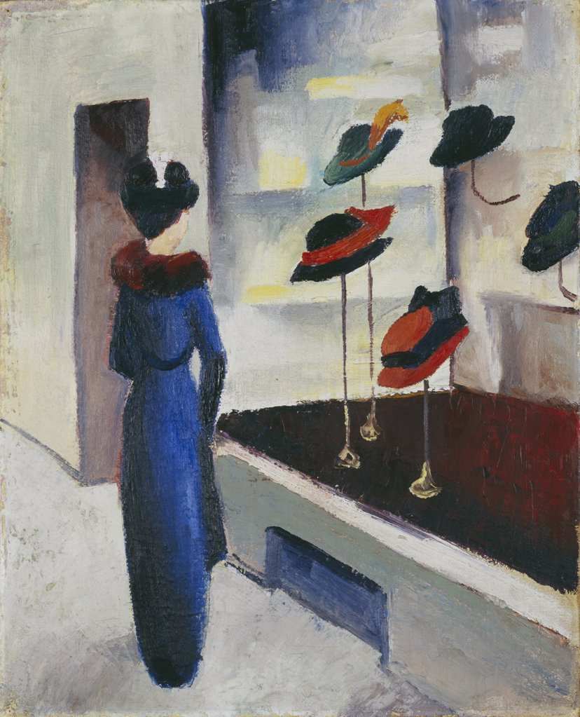 Woman window shopping by August Macke, Oil on canvas, 1913, 1887-1914, Germany, Munich, Stadtische Galerie im Lenbachhaus, 54, 5x44 : Stock Photo