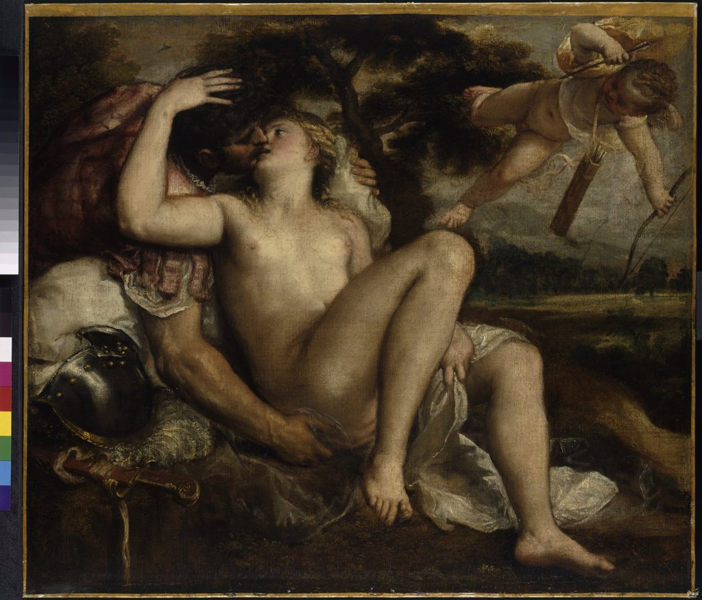 Venus kissing man by Titian, Oil on canvas, circa 1530, 1488-1576, Austria, Vienne, Art History Museum, 97x109 : Stock Photo