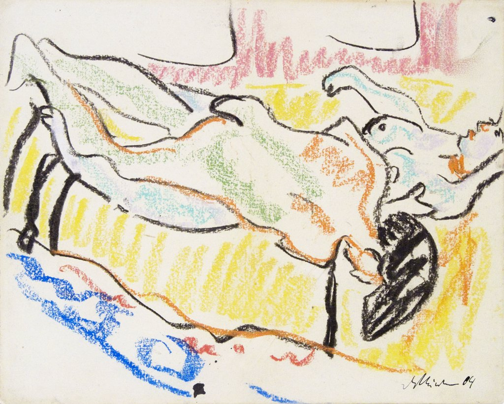 Stock Photo: 4266-8828 Amorous, naked couple by Ernst Ludwig Kirchner, Pastel on paper, 1908-1909, 1880-1938, Private Collection
