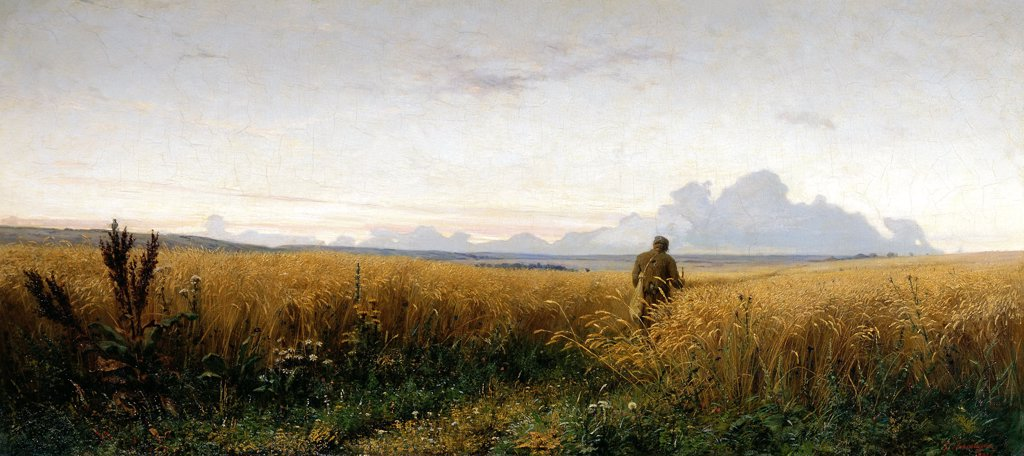 Stock Photo: 4266-8862 Man on field by anonymous artist, painting, Russia, Moscow, State Tretyakov Gallery, 65x145