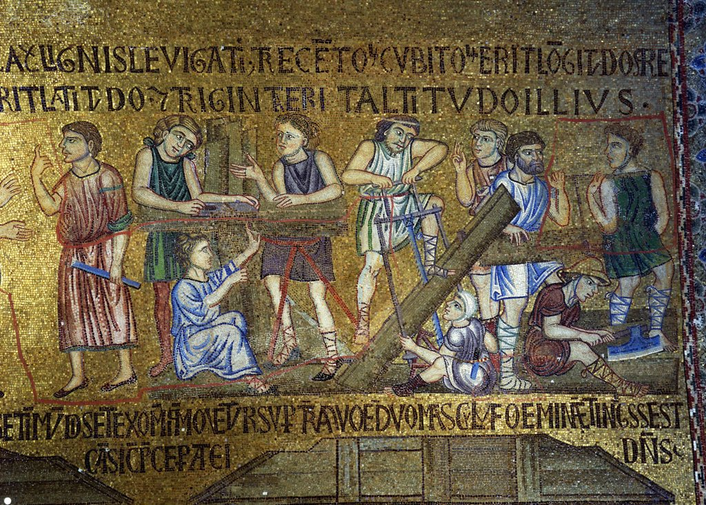 Building of ark by anonymous artist, Mosaic, Italy, Venice, Saint Mark's Basilica : Stock Photo