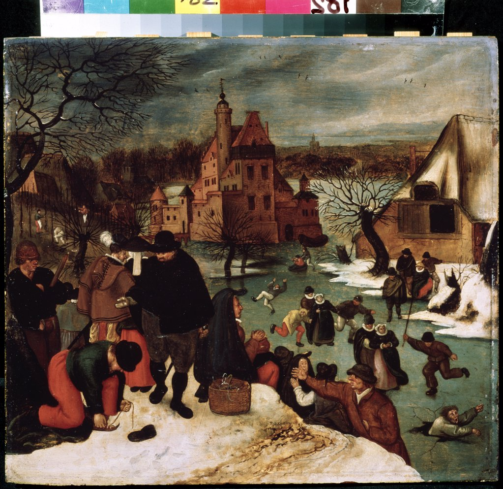 Stock Photo: 4266-8991 People ice-skating by Pieterc Brueghel the Younger, Oil on wood, circa 1600-1605, 1564-1638, Russia, Moscow, State A. Pushkin Museum of Fine Arts, 39x43
