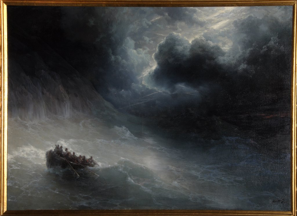 Stock Photo: 4266-9121 Sea storm by I. Ayvasovsky, Ukraine, Feodosiya, National Art Gallery, 70x110