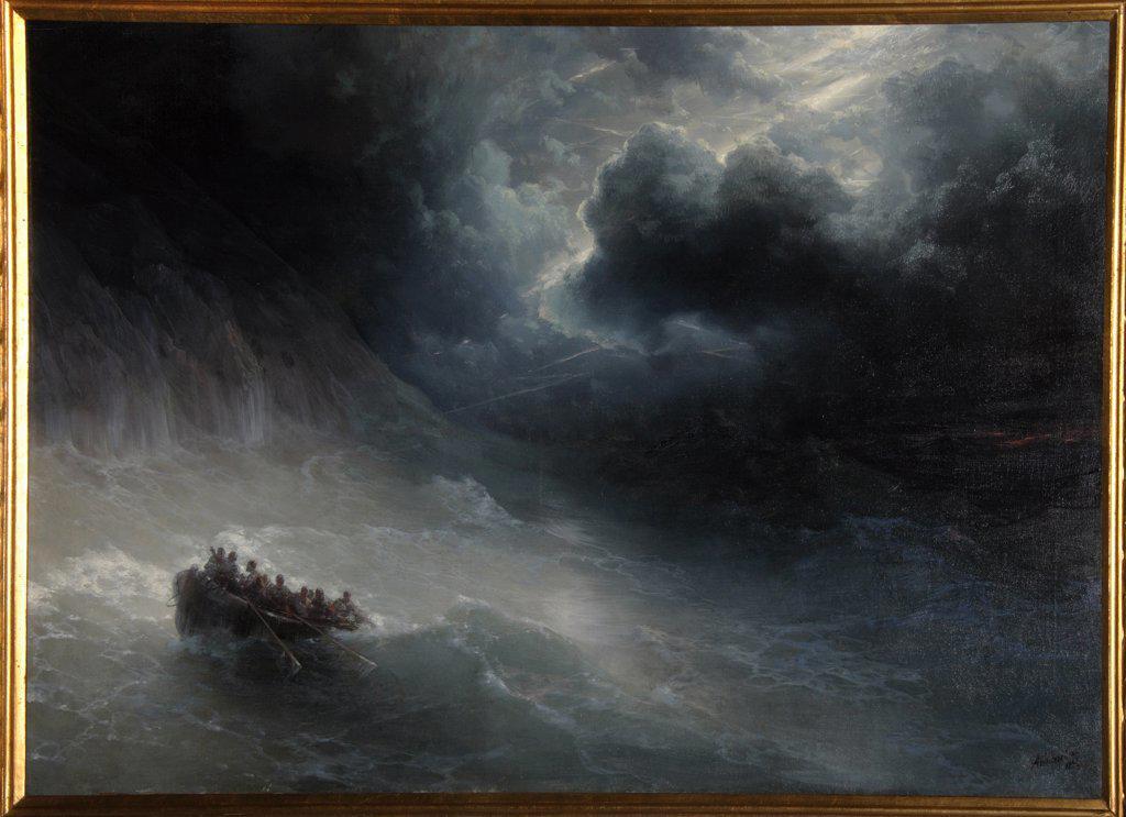 Sea storm by I. Ayvasovsky, Ukraine, Feodosiya, National Art Gallery, 70x110 : Stock Photo