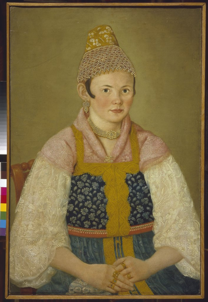 Stock Photo: 4266-9234 Portrait of woman wearing traditional clothing by anonymous artist, painting, Russia, Moscow, State History Museum, 80x53