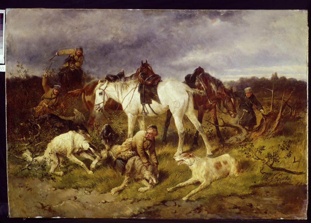 Stock Photo: 4266-9388 Wolf hunting by anonymous artist, painting, Uzbekistan, Tashkent, State Uzbekistan Art Museum,