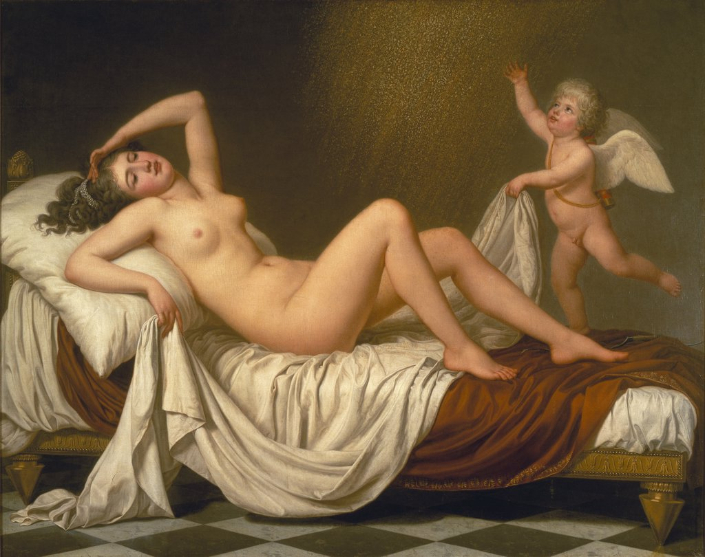 Stock Photo: 4266-9525 Danae in bed by anonymous artist, painting, Sweden, Stockholm, Nationalmuseum, 150x190