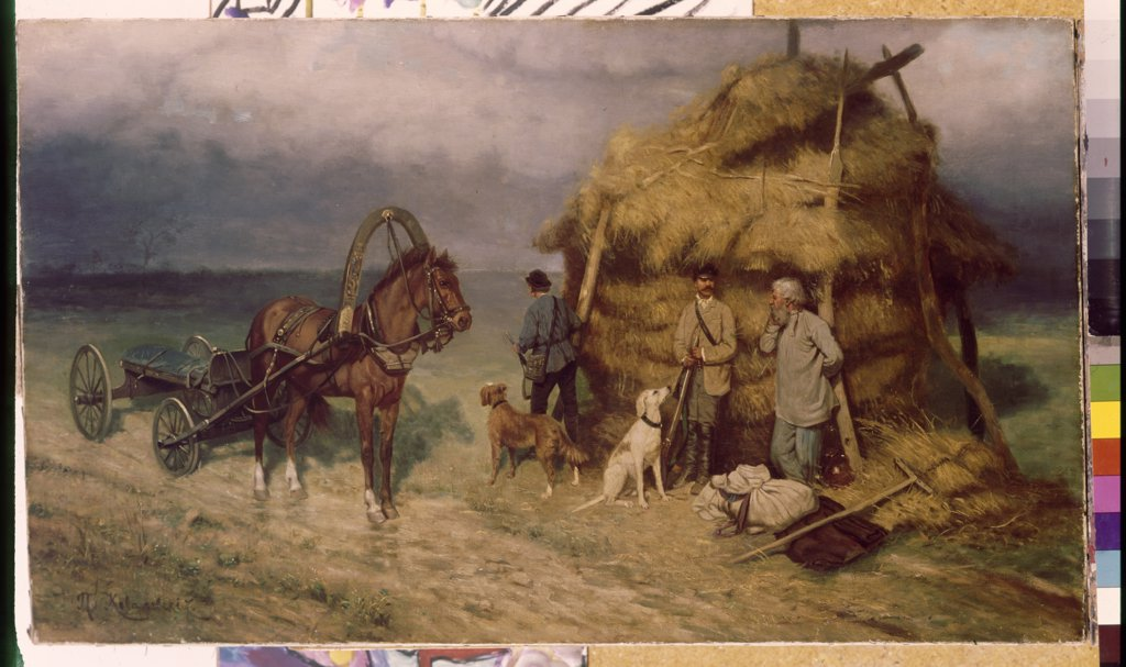 Harvest time by anonymous artist, painting, Russia, Tomsk, State Art Museum, : Stock Photo
