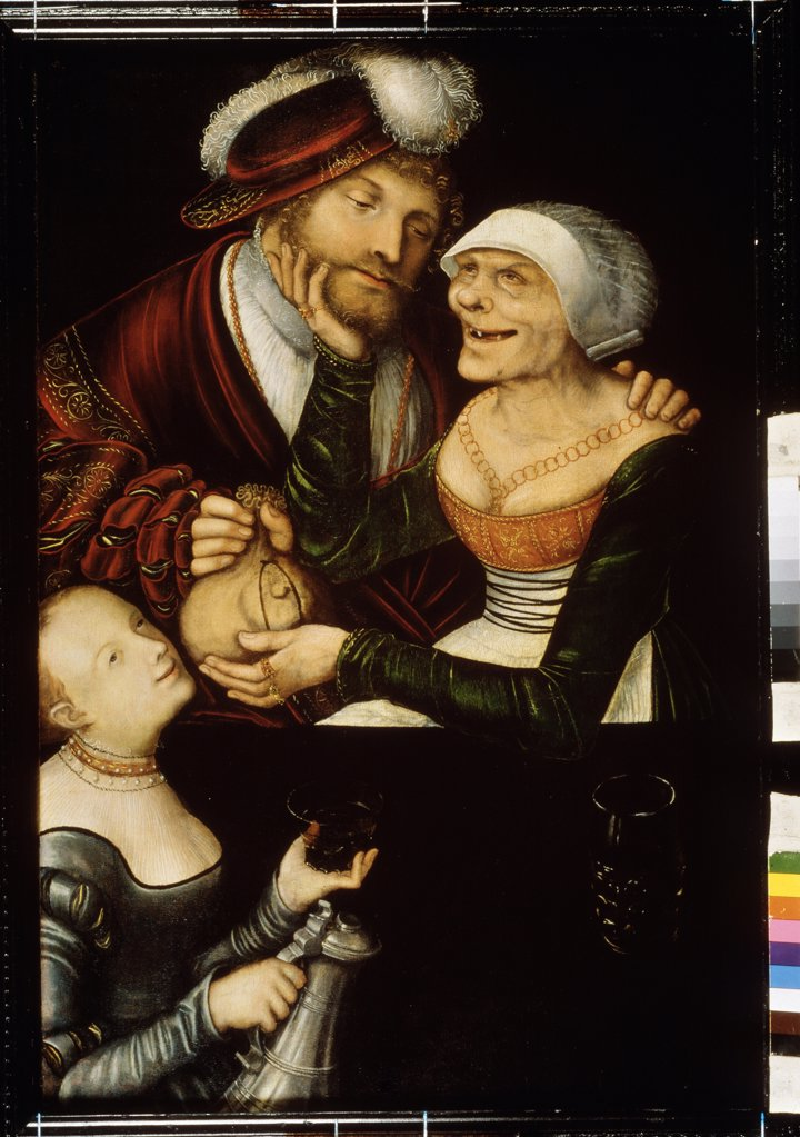 Stock Photo: 4266-9559 Couple with girl by Lucas Cranach the Elder, Oil on wood, circa 1530, 1472-1553, Georgia, Tbilisi, State Georgian Art Museum,