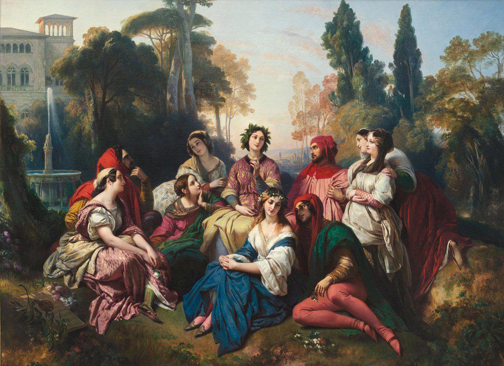 Stock Photo: 4266-9778 Decameron by Franz Xavier Winterhalter, Oil on canvas, 1805-1873, Liechtenstein Museum, 191x254