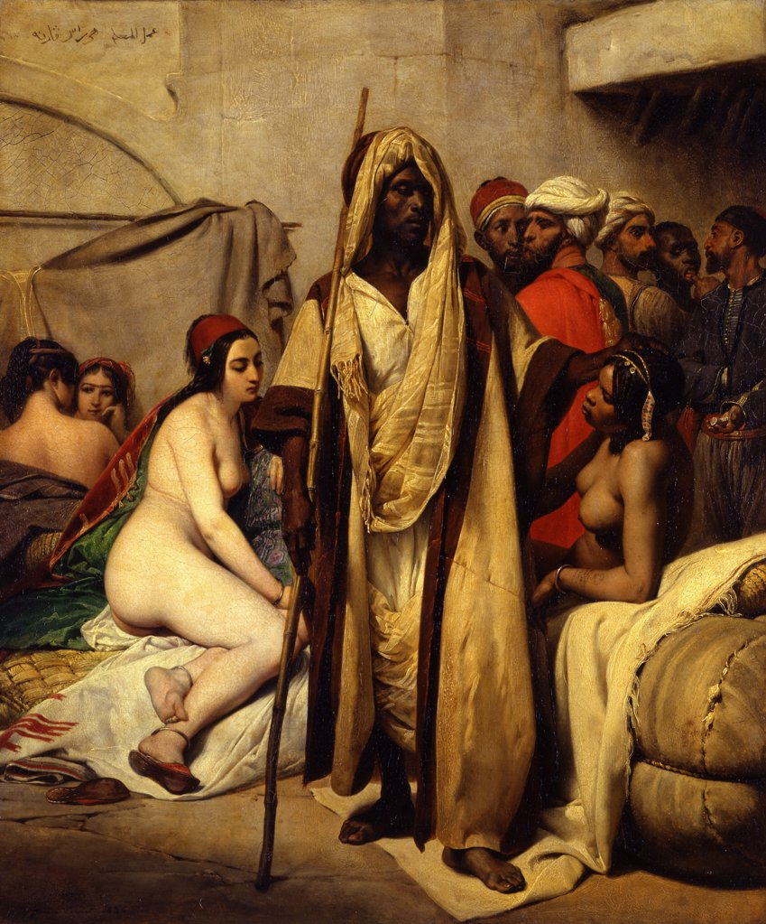 Stock Photo: 4266-9806 Slave Market by Horace Vernet, Oil on canvas, 1789-1863, Germany, Berlin, Staatliche Museen, 65x54
