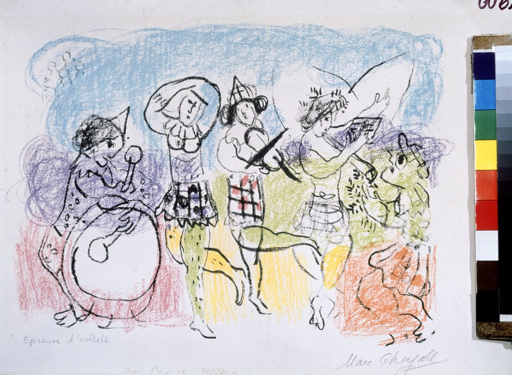 Chagall, Marc (1887-1985) Private Collection 31x36 Colour lithograph Modern Russia Music, Dance  : Stock Photo