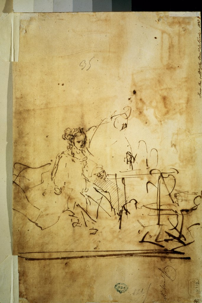 Stock Photo: 4266-9844 Rembrandt van Rhijn, Pen, brown Indian ink on paper, 1606-1669, Russia, Moscow, State A. Pushkin Museum of Fine Arts, 19, 5x29, 8