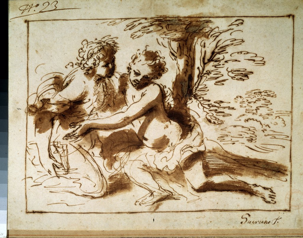 Stock Photo: 4266-9852 Pier Francesco Mola, Pen, brush, Indian ink on paper, 1612-1666, Russia, Moscow, State A. Pushkin Museum of Fine Arts, 17, 1x22, 8