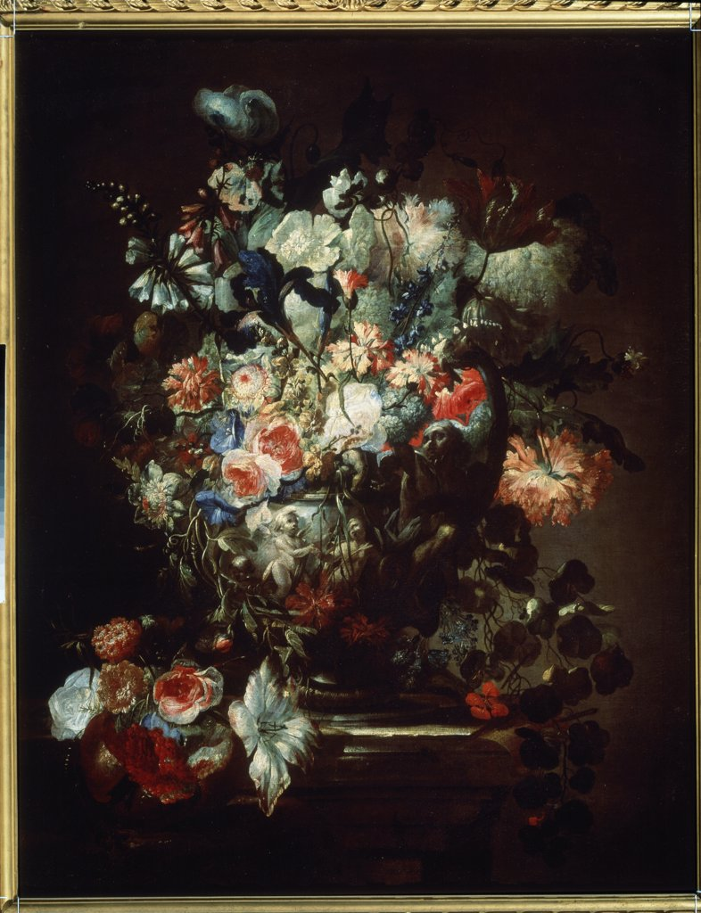 Bunch of Flowers by Jean-Baptiste Monnoyer, Oil on canvas, 1636-1699, Russia, Moscow, State A. Pushkin Museum of Fine Arts, 121x95 : Stock Photo