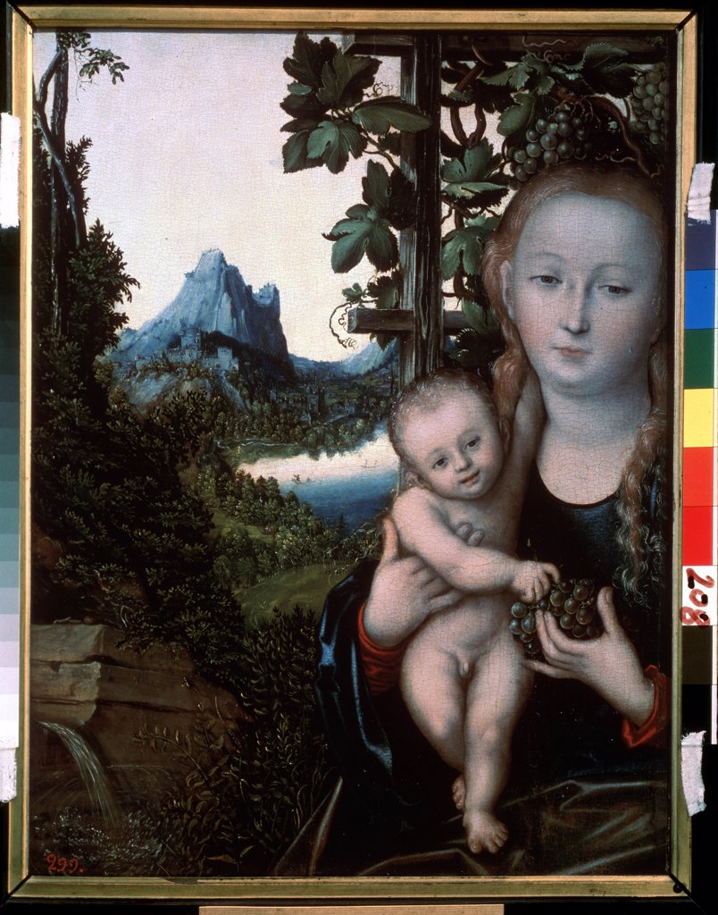 Stock Photo: 4266-9939 Religious illustration with Virgin Mary and Jesus Christ as child by Lucas Cranach the Elder, Oil on wood, circa 1520, 1472-1553, Russia, Moscow, State A. Pushkin Museum of Fine Arts, 58x46