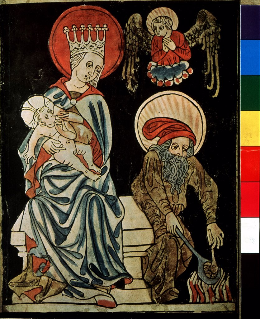 Holy family by German master, Woodcut, watercolor, circa 1410, Russia, Moscow, State A. Pushkin Museum of Fine Arts : Stock Photo