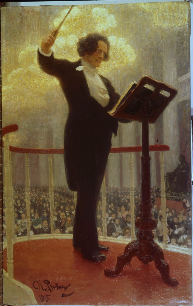 Composer, conductor and pianist Anton Rubinstein by Ilya Yefimovich Repin, Oil on canvas, 1909-1915, 1844-1930, Russia, Samara, State Art Museum, 216x136 : Stock Photo