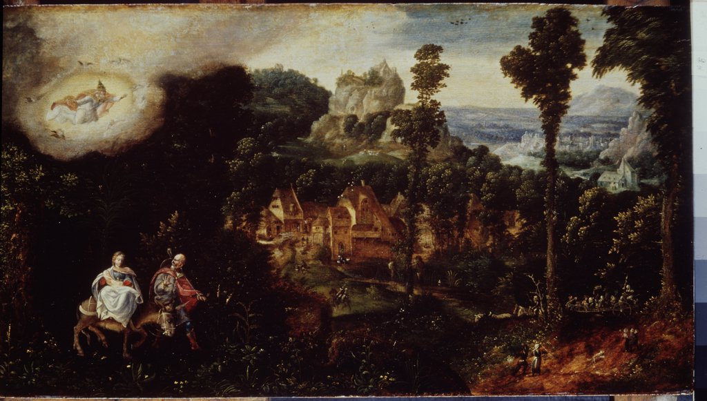 Journey of holy family by Henri de Patinier, Oil on wood, 1510-1550, 16th century, Russia, St. Petersburg, State Hermitage, 33x59, 7 : Stock Photo