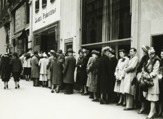 Stock Photo: 4267R-1326 People standing in line at James Robinson cinema, NY, (B&W)