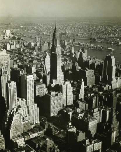 New York City, (B&W), (Aerial view) : Stock Photo