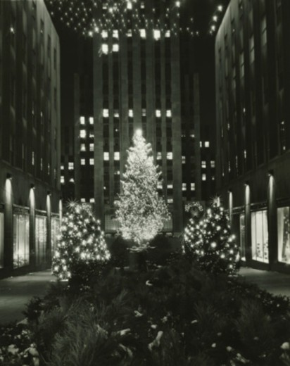 Rockefeller Center decorated for Christmas, New York City, (B&W), (Low section) : Stock Photo