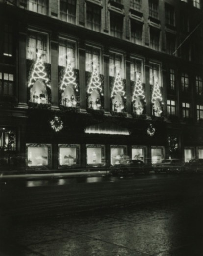 Stock Photo: 4267R-1465 Saks on 5th Avenue decorated for Christmas, New York City, (B&W)