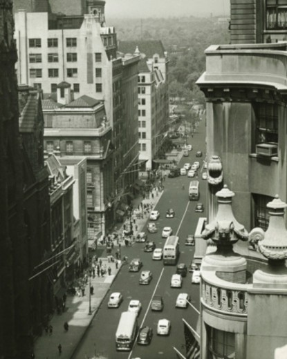 Fifth Avenue, New York City, (B&W), (High angle view) : Stock Photo