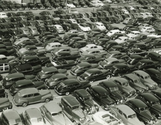 Stock Photo: 4267R-2798 Parking full of cars, (B&W), (elevated view