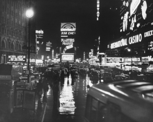 Busy street at night, Times Square, New York, USA (B&W) : Stock Photo