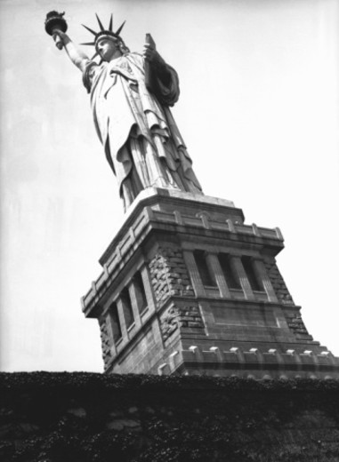 Stock Photo: 4267R-3361 Statue of Liberty, New York, USA, (B&W), low angle view