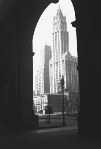 Woolworth Building seen through arch, New York City, USA, (B&W) : Stock Photo