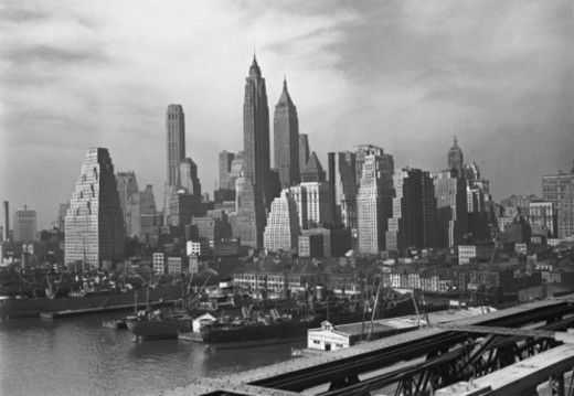 Stock Photo: 4267R-3846 Manhattan skyline, New York City, USA, (B&W)