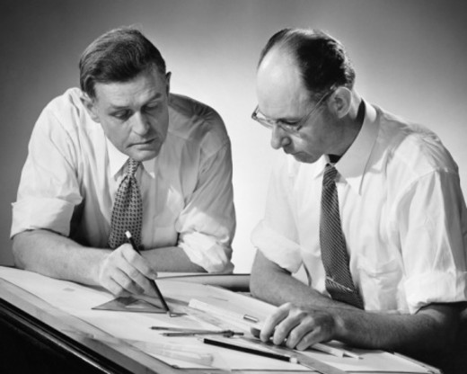 Stock Photo: 4267R-4912 Two men at drafting table