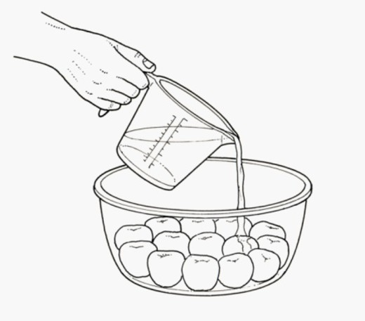 Black and white illustration of pouring fruit liqueur on poached apricots in glass bowl : Stock Photo
