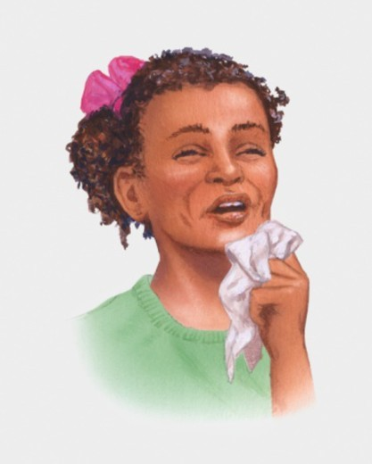 Illustration of girl holding tissue near mouth before sneezing : Stock Photo