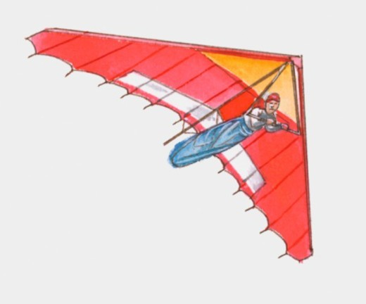 Stock Photo: 4268R-10507 Illustration of man hang-gliding