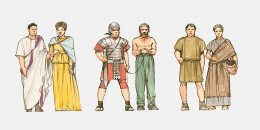 Illustration of male and female patricians, soldier and slave, and male and female plebeians : Stock Photo
