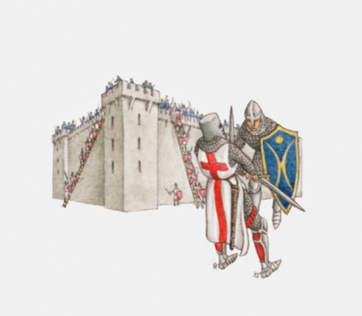 Illustration of Crusader knights fighting as knights lay siege to castle in background : Stock Photo