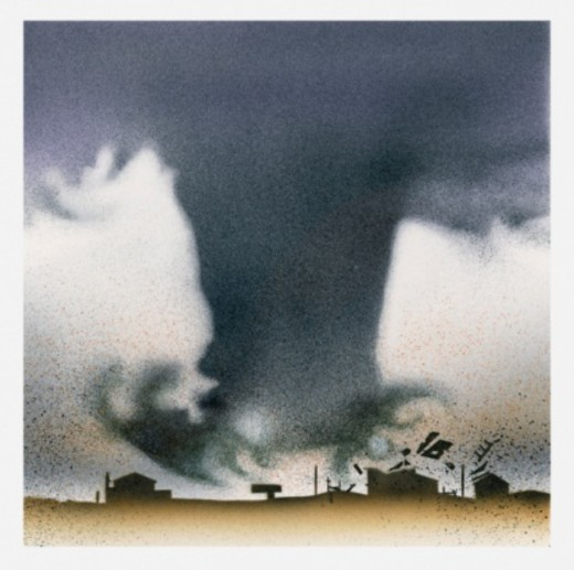 Stock Photo: 4268R-10736 Illustration of tornado destroying buildings