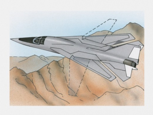 Illustration of Grumman F-14 Tomcat showing diagram of variable-sweep wings : Stock Photo