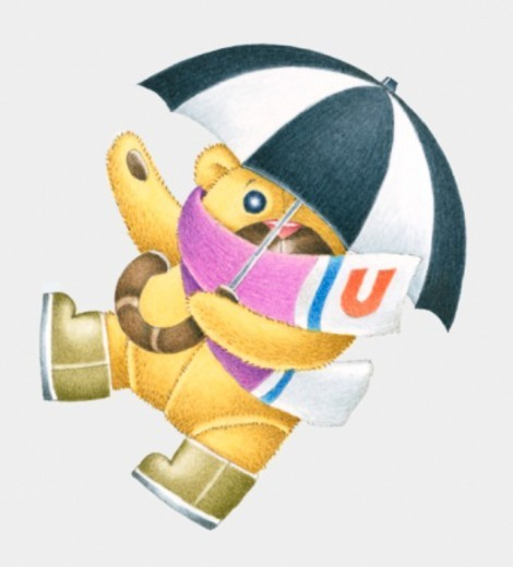 Illustration of teddy bear with umbrella and a scarf with the letter U on : Stock Photo