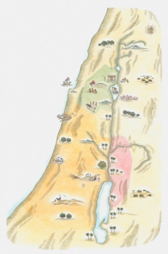 Illustration of map of Judea, the area in which Jerusalem was situated, as it would have been at the time of Jesus : Stock Photo