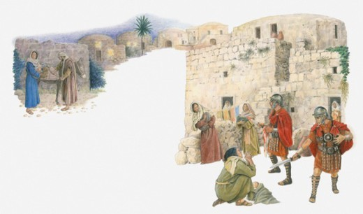 Illustration of Herod's soldiers hunting downand putting to death every child under the age of two as Mary and Joseph escape with Jesus : Stock Photo